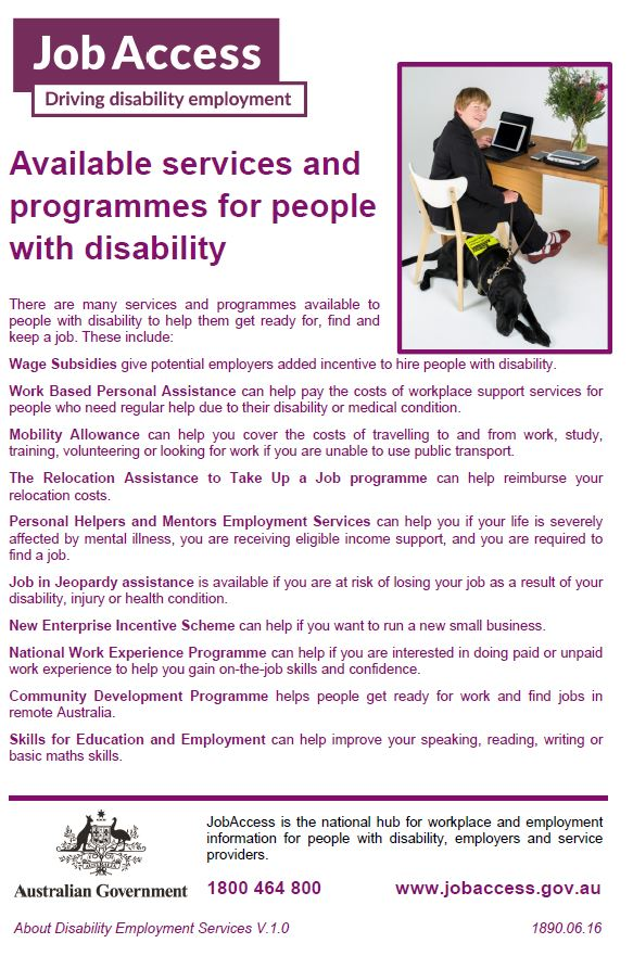 Available Services and Programs for People with Disability flyer image