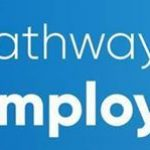 Pathways to Employability banner a blue box with the words displayed on the left 2 figures one on a mobile and walking the other in a wheel chair looking at a lap top